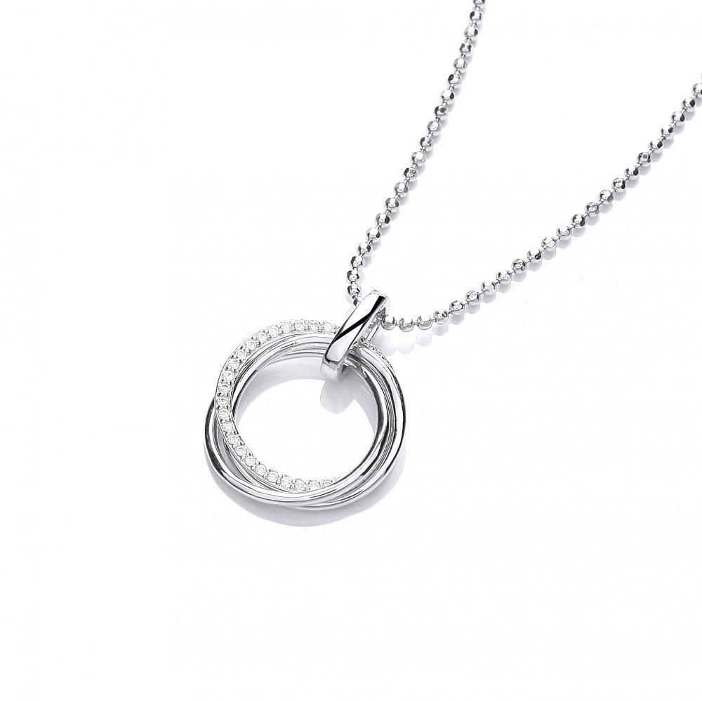 Silver Triple Ring Necklace